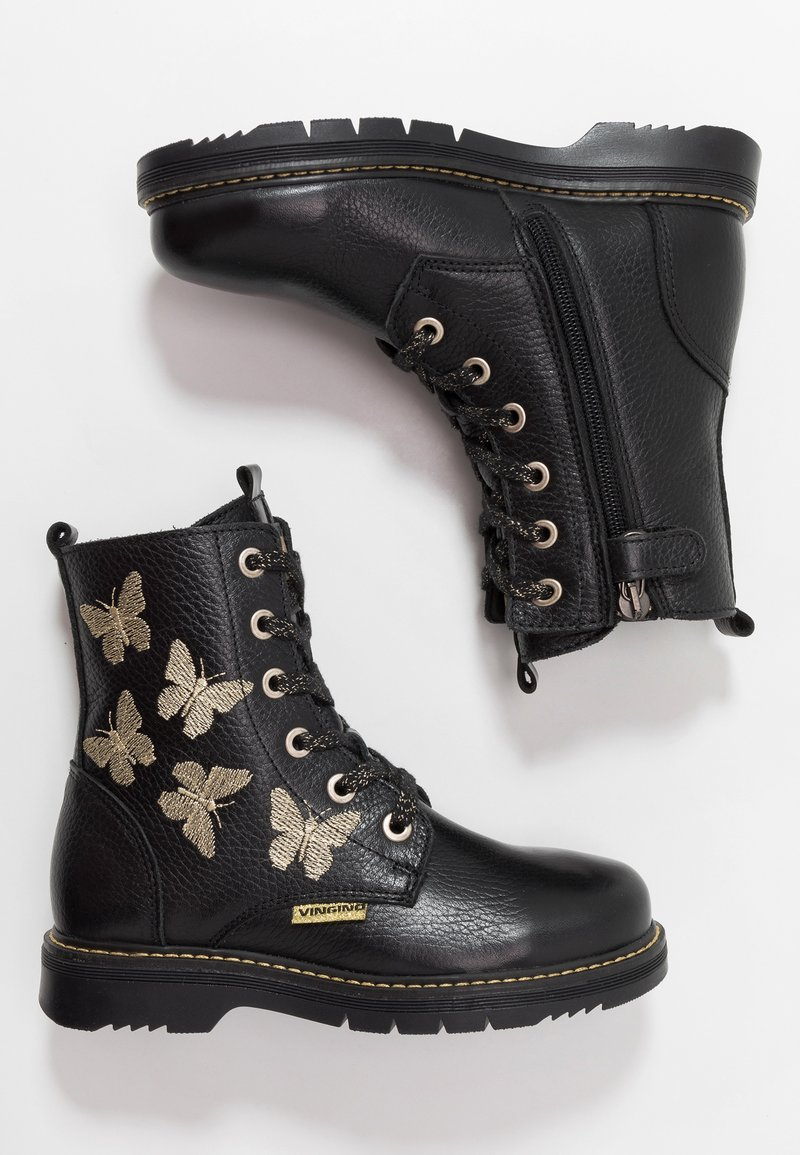 Vingino - PAOLA - Lace-up ankle boots - black/gold