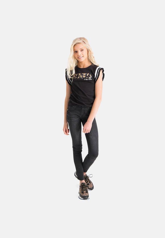 Print T-shirt - deep black