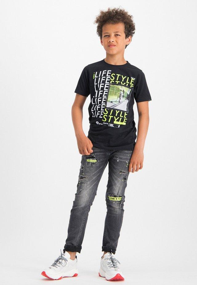 HEFFIE - Print T-shirt - deep black
