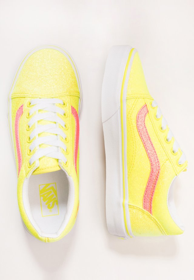 OLD SKOOL - Sneakers laag - neon glitter yellow/true white