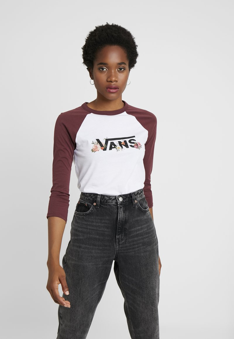 Vans - FLORAL 3/4 RAGLAN - Long sleeved top - white/tawny port