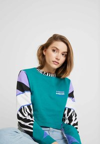 Vans - ZEBRA BOYFRIEND CROP - Langærmede T-shirts - tidepool - 3