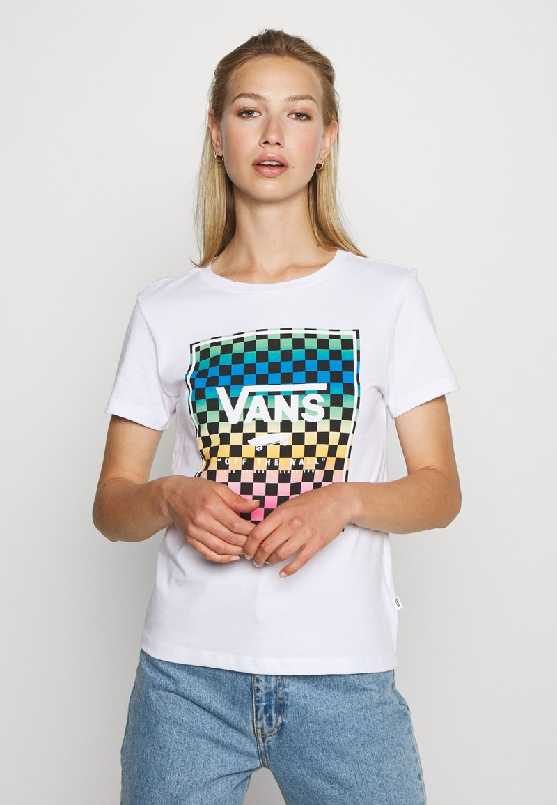 Vans - VINTAGE CHECK BOX - T-shirt con stampa - white