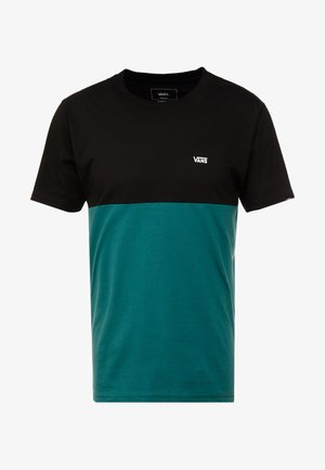 COLORBLOCK TEE - Print T-shirt - black/trekking green