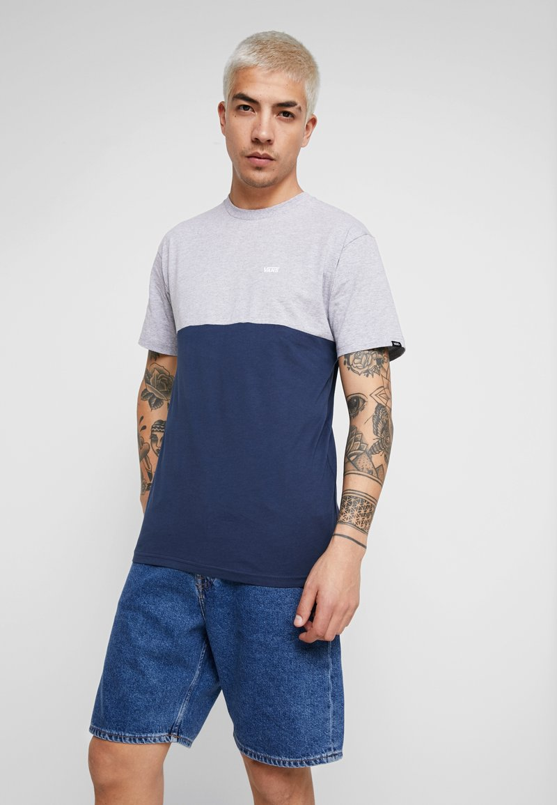 Vans - COLORBLOCK - Camiseta estampada - athletic heather/dress blues