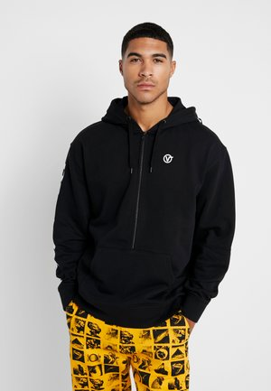 DISTORTED OVERSIZED HALF ZIP - Huvtröja med dragkedja - black