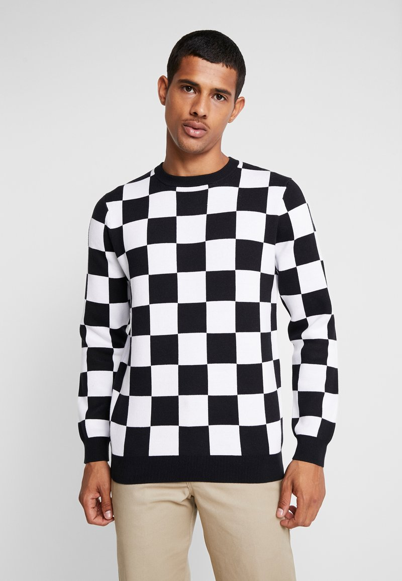 Vans - CHECKER - Strickpullover - black/white
