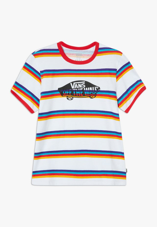 STRIPE - T-shirt med print - white/caribbean sea