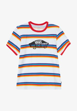 STRIPE - Print T-shirt - white/caribbean sea