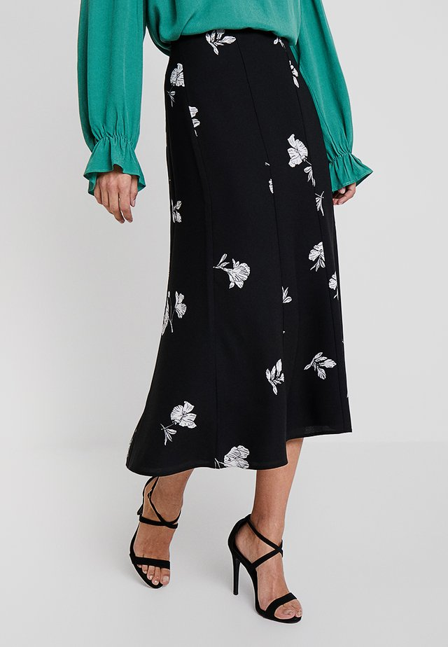 ELEGANT TOSSED FLOWERS BOOT SKIRT - A-linjekjol - rich black
