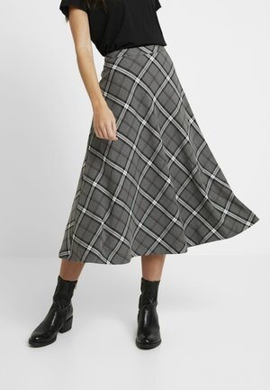 BOLD PLAID MIDI SKIRT - Jupe trapèze - med grey