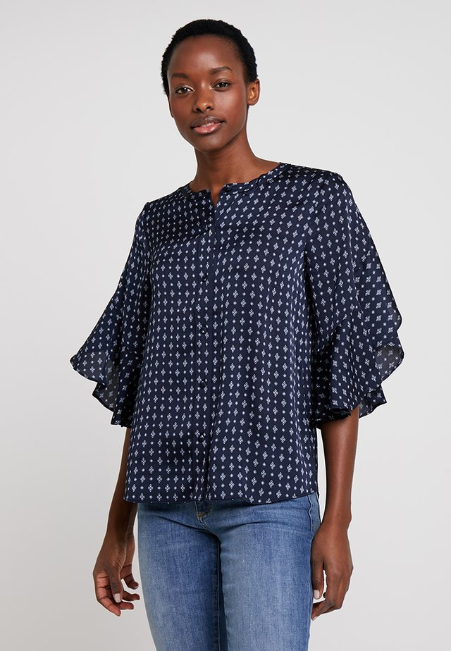 RUFFLE BELL SLEEVE GEO ACCENTS BUTTON DOWN BLOUSE - Blus - classic navy