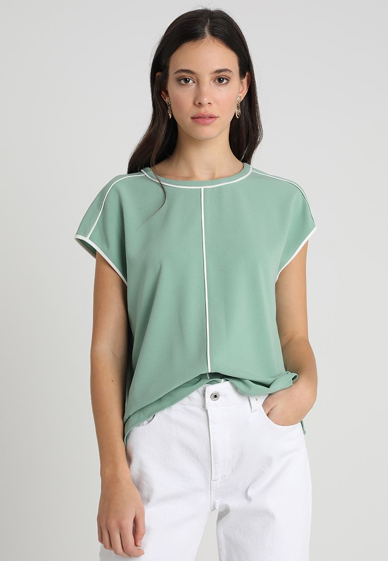 Vince Camuto - EXTEND SHOULDER CONTRAST PIPE FRENCH  - Blusa - green