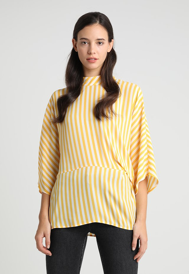 ELBOW SLEEVE SIDE TWIST SIMPLE STRIPE MOCK NECK BLOUSE - Pusero - citrus flower