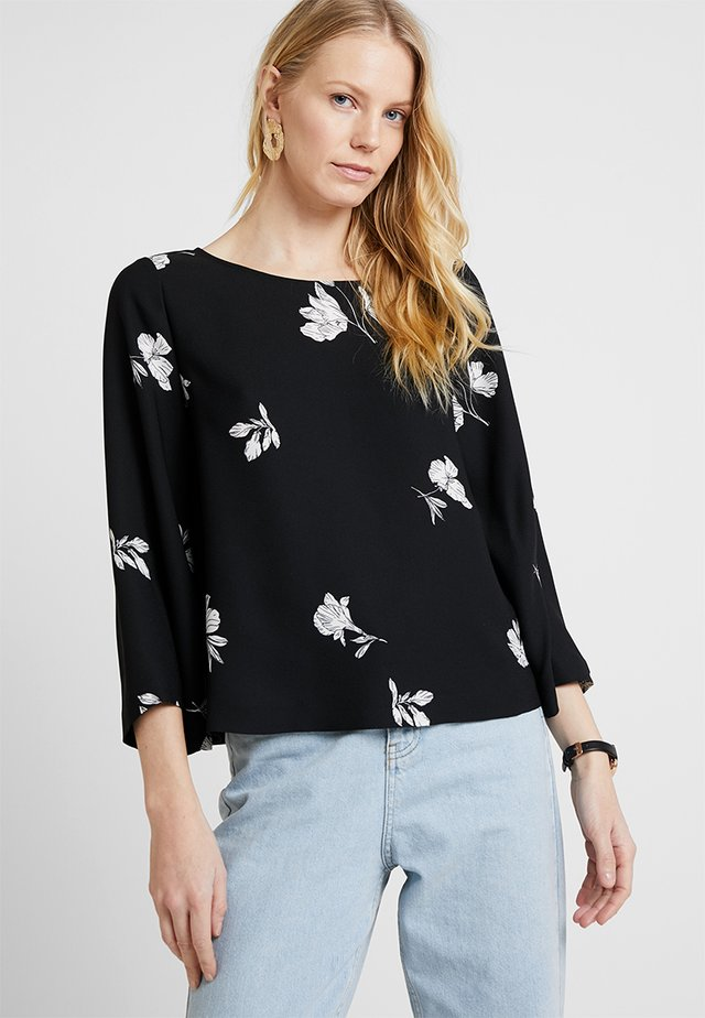 ELBOW ELEGANT TOSSED FLOWERS BLOUSE - Blus - rich black