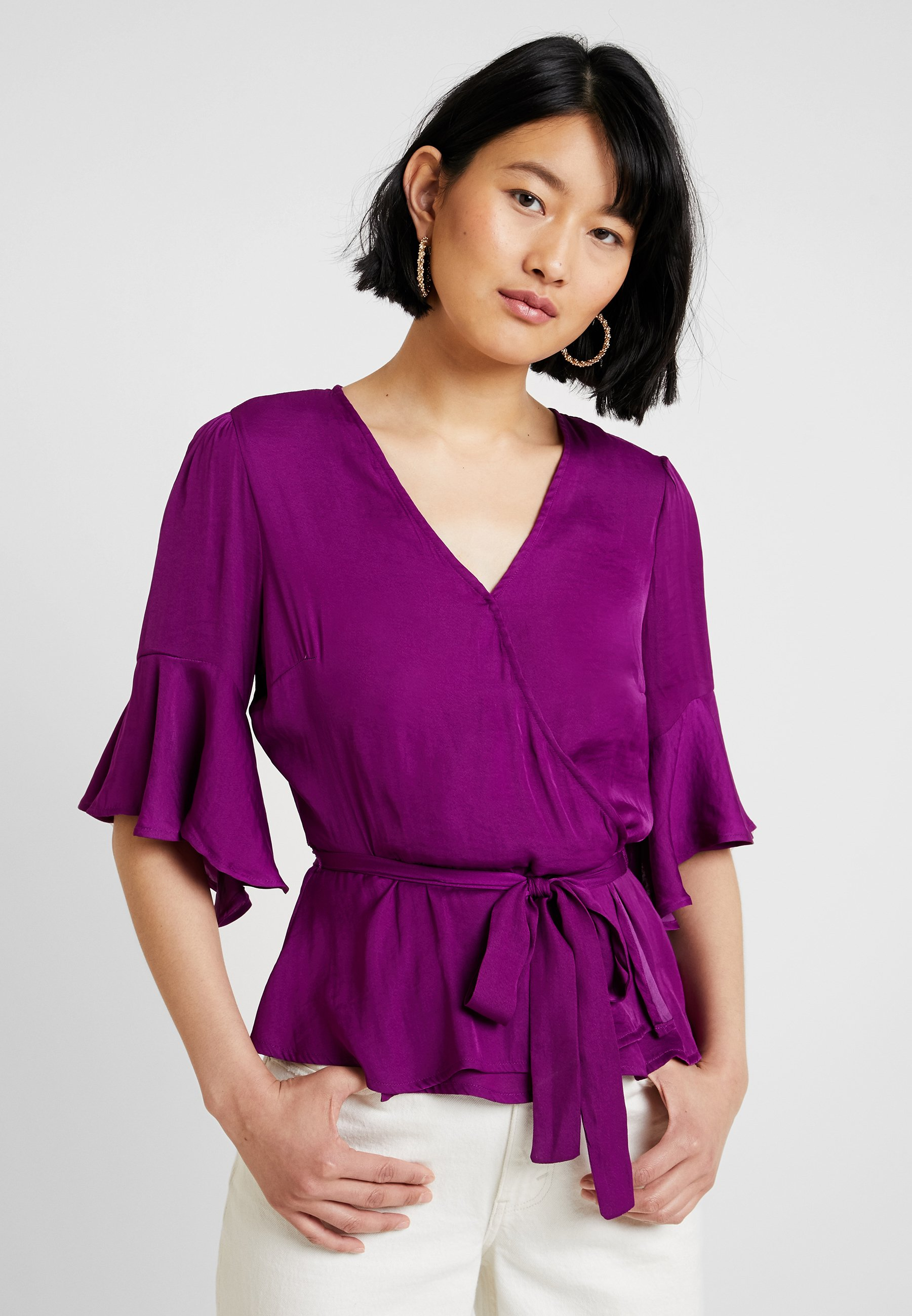 Camuto RUMPLE RUFFLED SLEEVE WRAPBlouse magenta BELTED Vince ELBOW rich EY9H2IDW
