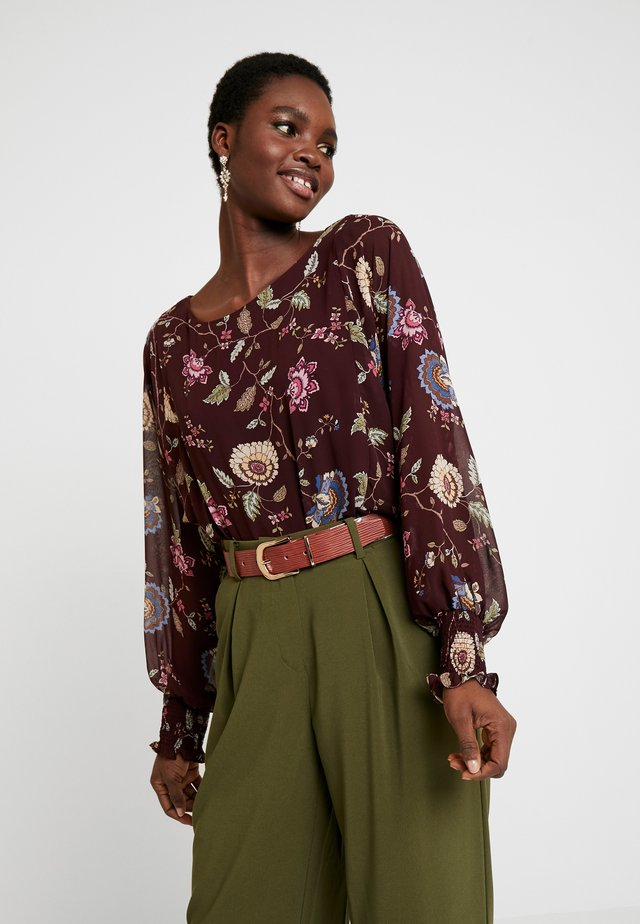 BATWING FLORAL OVERLAY  - Blouse - port