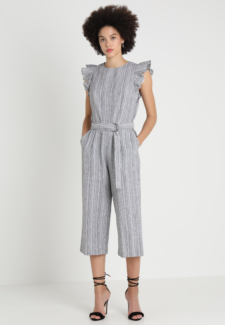 Vince Camuto - RUFFLED BELTED STRIPE - Jumpsuit - rich black