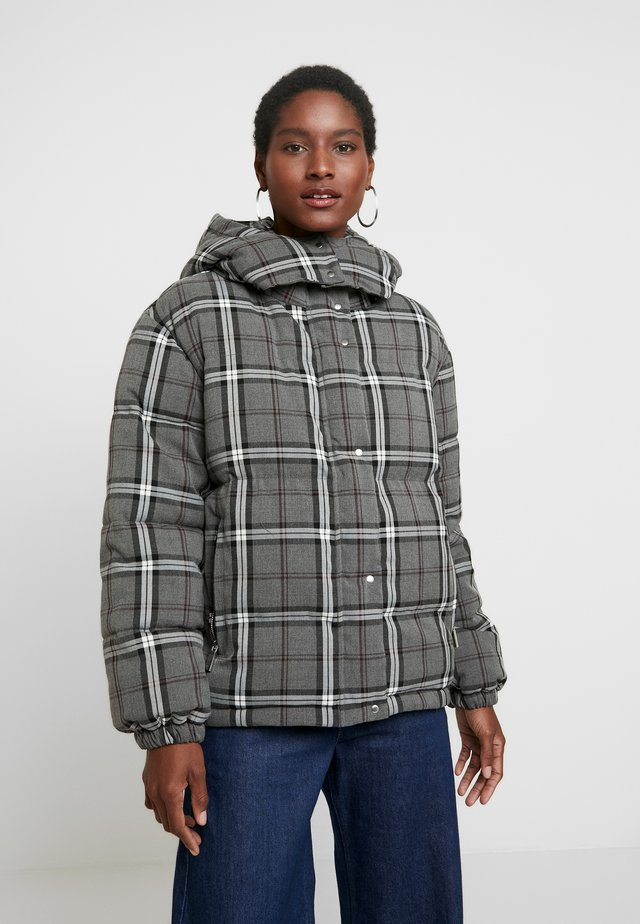 BOLD PLAID HOODED PUFFER JACKET - Vinterjacka - med grey