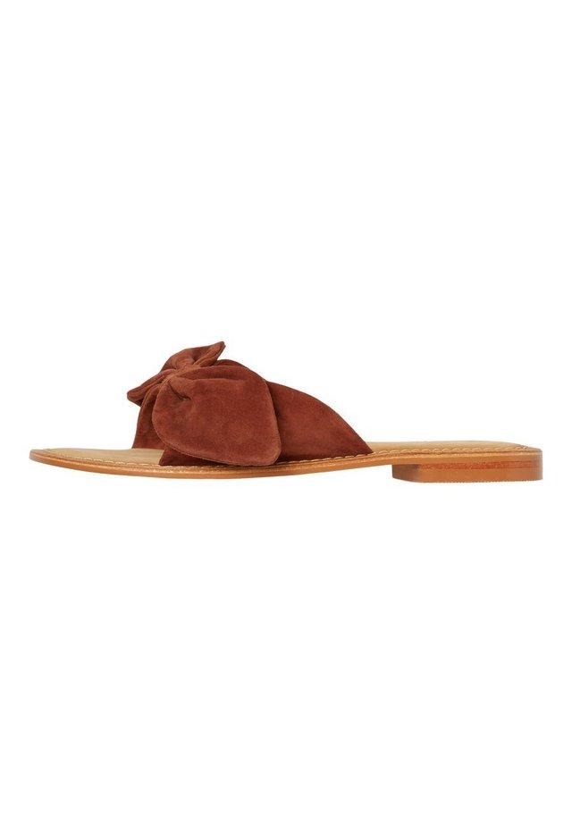 VERO MODA SANDALEN LEDER - Pantolette flach - mottled brown