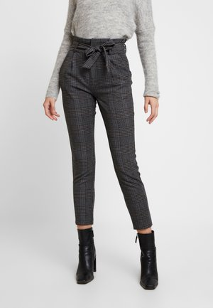 VMEVA PAPERBAG CHECK PANT - Pantaloni - dark grey melange/grey/brown