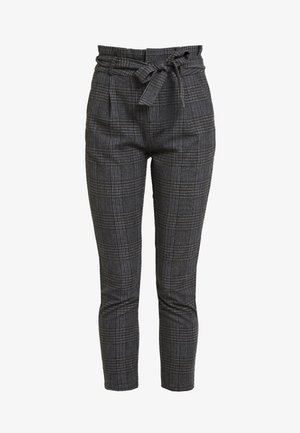 VMEVA PAPERBAG CHECK PANT - Tygbyxor - dark grey melange/grey/brown