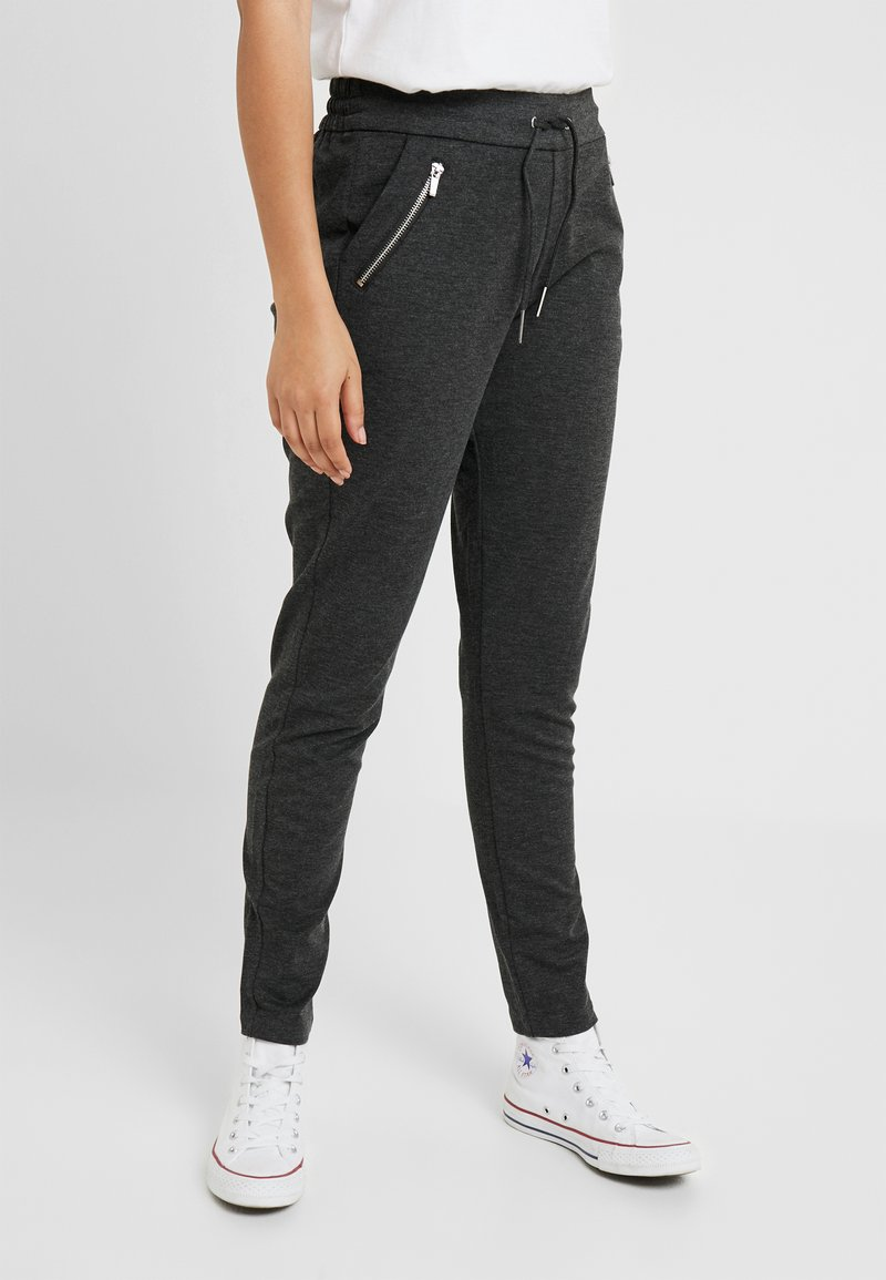 Vero Moda - VMEVA LOOSE STRING ZIPPER PANT - Jogginghose - dark grey melange