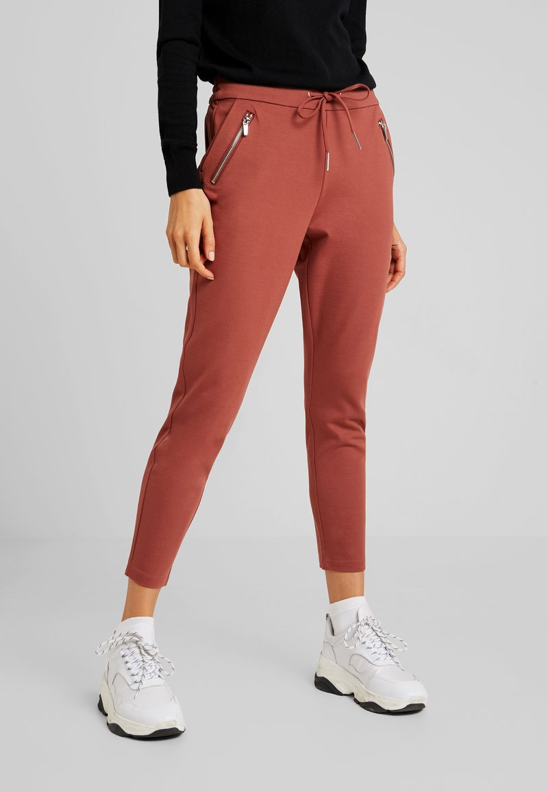 Vero Moda - VMEVA LOOSE STRING ZIPPER PANT - Teplákové kalhoty - mahogany