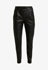 Vero Moda - VMEVA LOOSE STRING COATED PANT - Trousers - black - 4