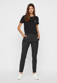Vero Moda - VMMAYA MR LOOSE SOLID - Trousers - dark grey melange - 1