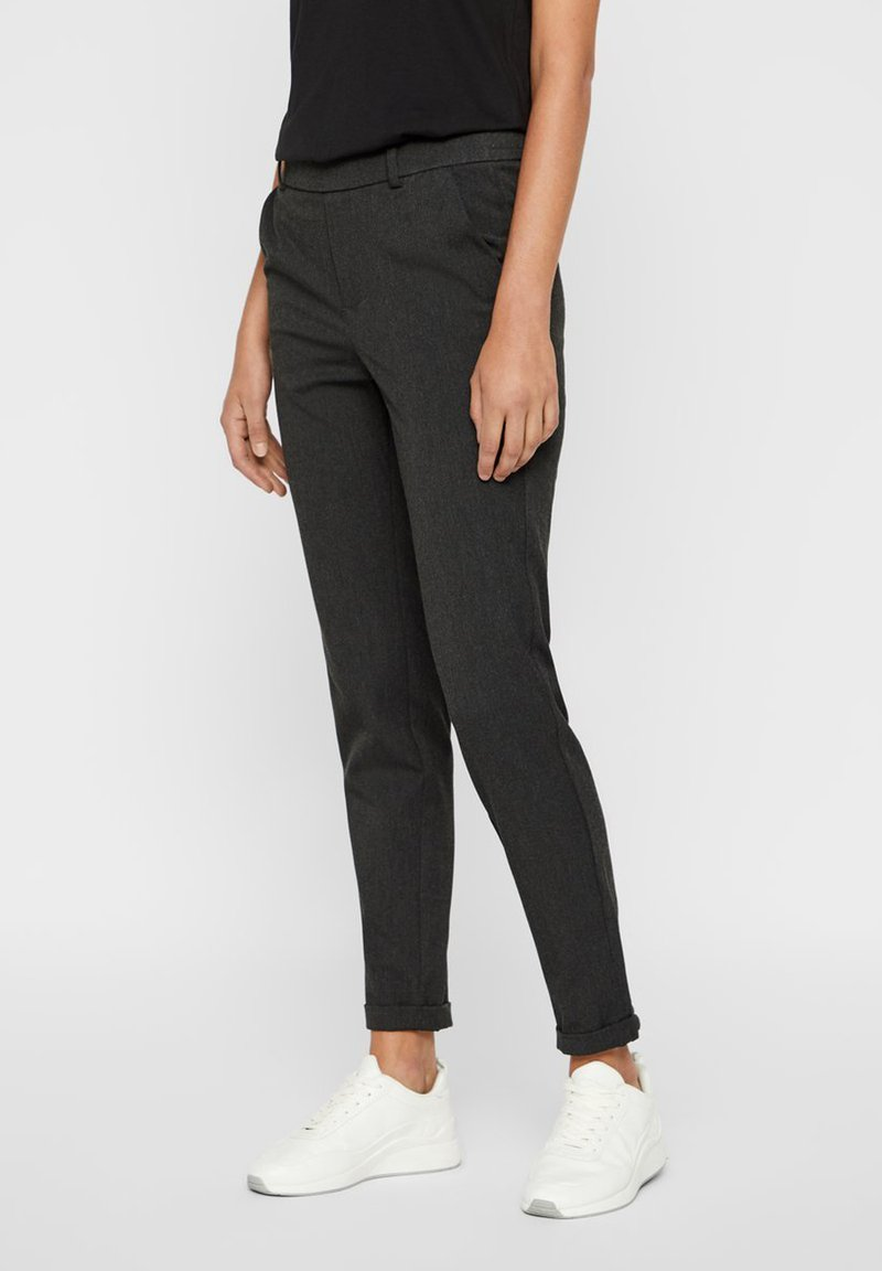Vero Moda - VMMAYA MR LOOSE SOLID - Trousers - dark grey melange