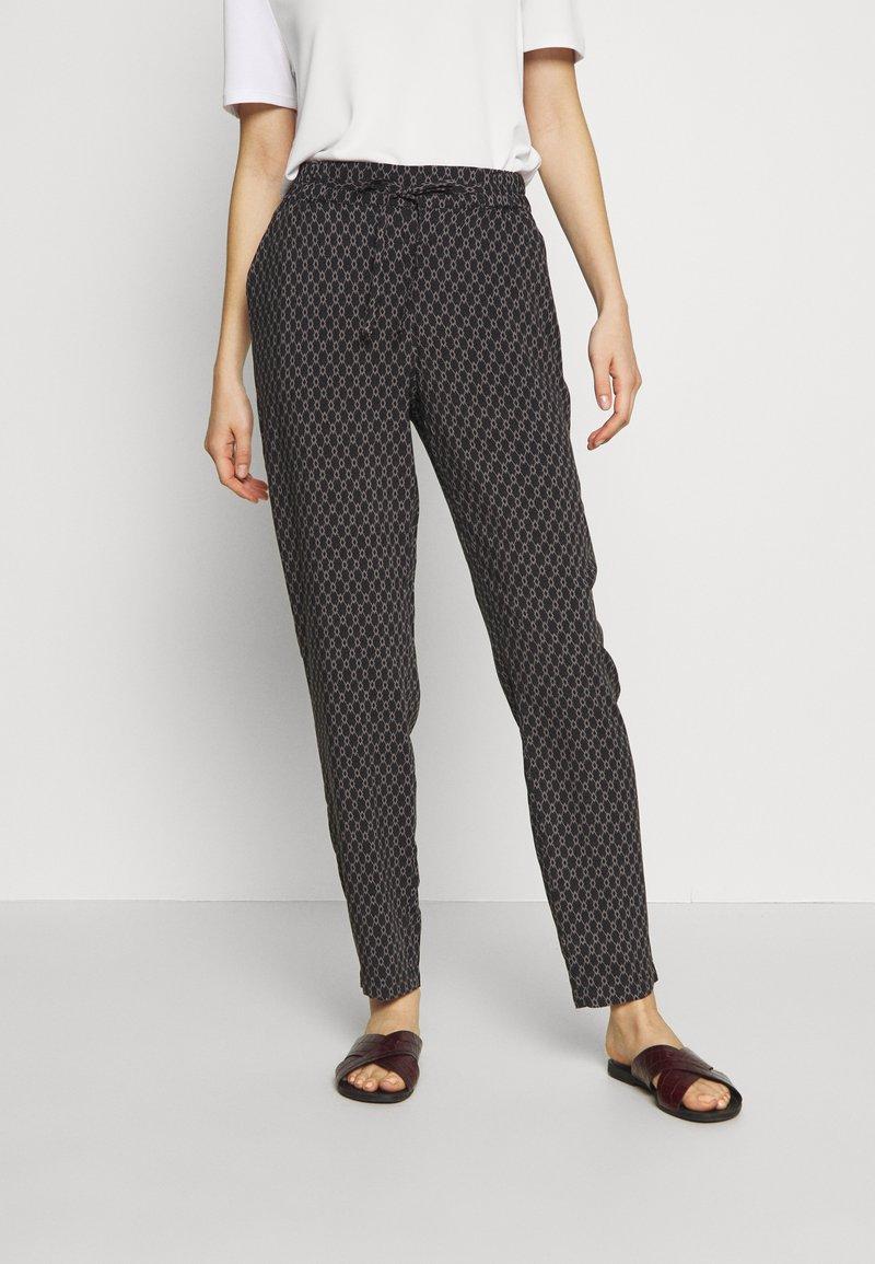 Vero Moda - VMSIMPLY EASY LOOSE PANT - Trousers - black/felicia tornado