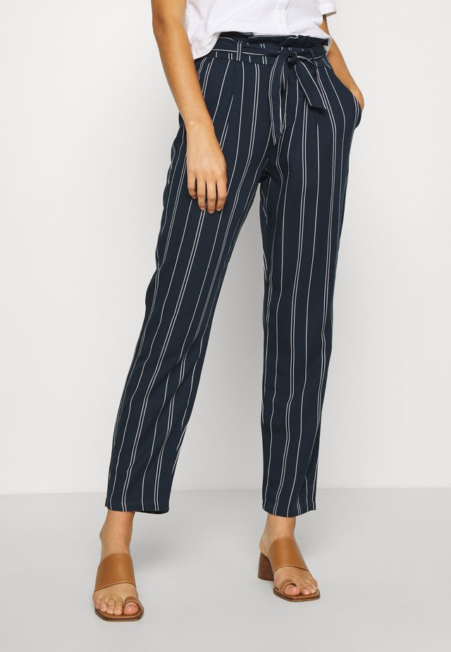 VMEVA LOOSE PAPERBAG STRIPE PANT - Trousers - navy blazer/birch
