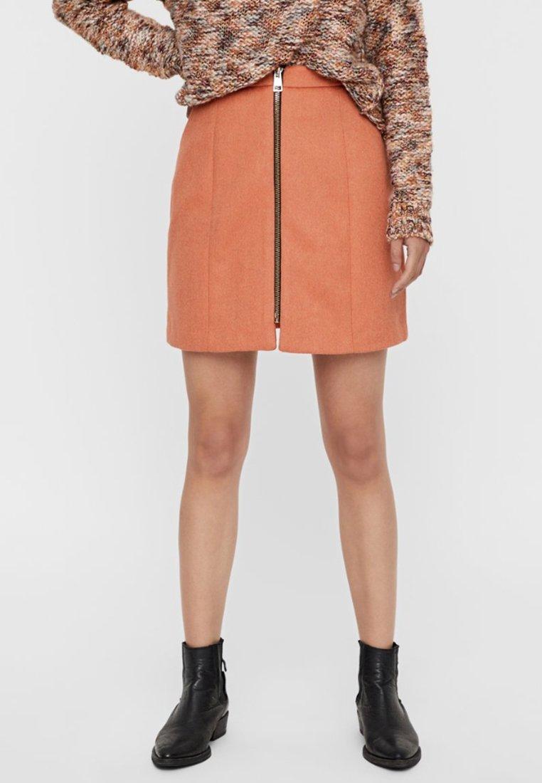 Vero Moda - ROCK  - A-line skirt - rust
