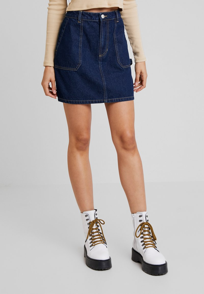 Vero Moda - VMLILI SHORT SKIRT - A-Linien-Rock - dark blue denim
