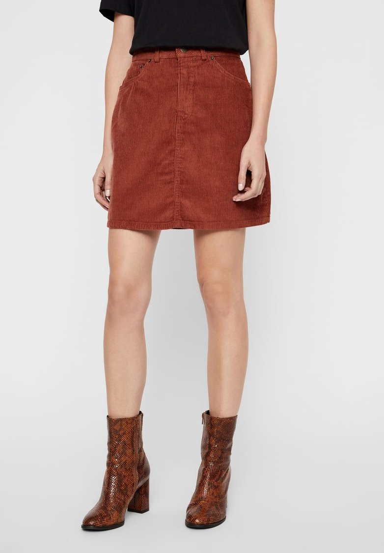Vero Moda - ROCK CORD - A-line skirt - brown