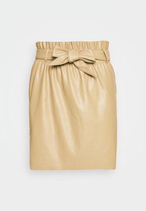 VMAWARDBELT SHORT COATED SKIRT - Minifalda - beige