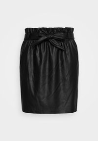 Vero Moda - VMAWARDBELT SHORT COATED SKIRT - A-linjainen hame - black - 3