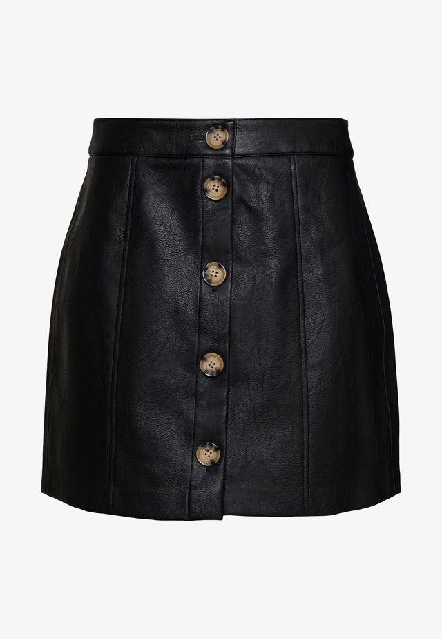 VMIVA COATED SKIRT - Mini skirt - black