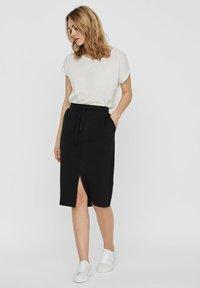 Vero Moda - ROCK NORMAL WAIST - A-line skirt - black - 1