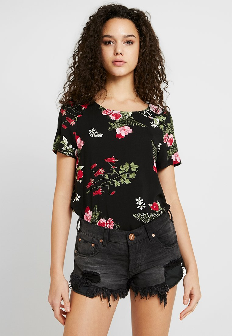 Vero Moda - VMSIMPLY EASY - Print T-shirt - black/red