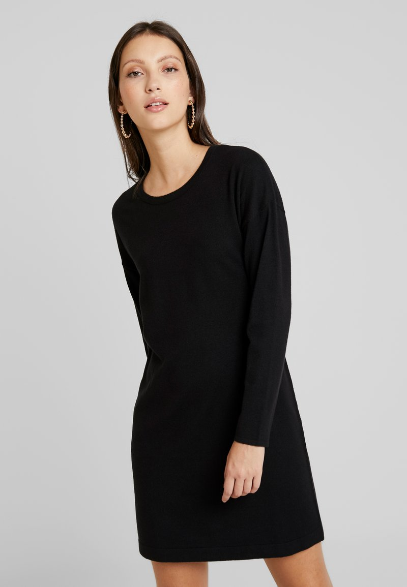 Vero Moda - VMHAPPY BASIC ZIPPER DRESS - Strickkleid - black