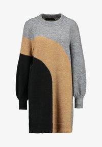 Vero Moda - VMAGOURAWAVE O-NECK DRESS - Jumper dress - medium grey melange/tobacco - 5