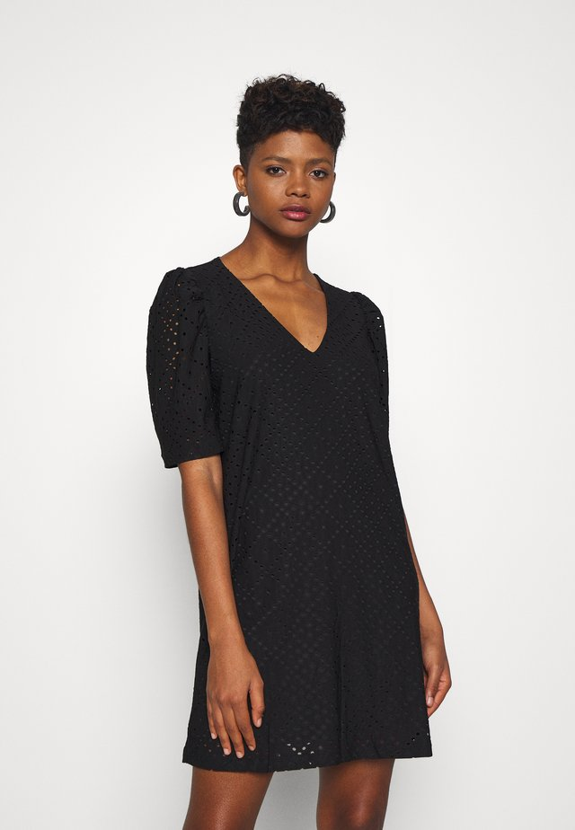 VMESSENCE EMBRODIERY DRESS - Jerseyjurk - black
