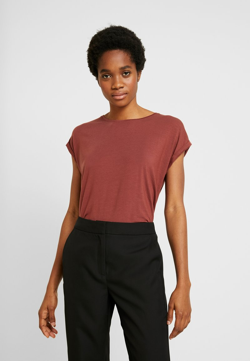 Vero Moda - VMAVA PLAIN - Basic T-shirt - sable