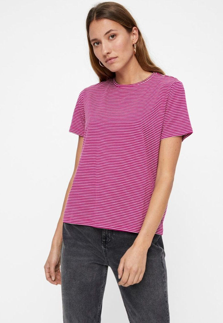 Vero Moda - VMAVA STRIPE - T-shirt med print - berry