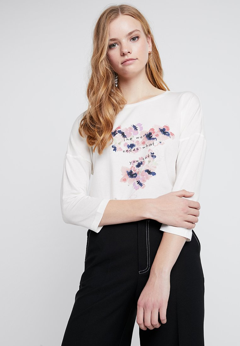Vero Moda - VMAVA PLAIN 3/4 PRINT - Camiseta de manga larga - snow white