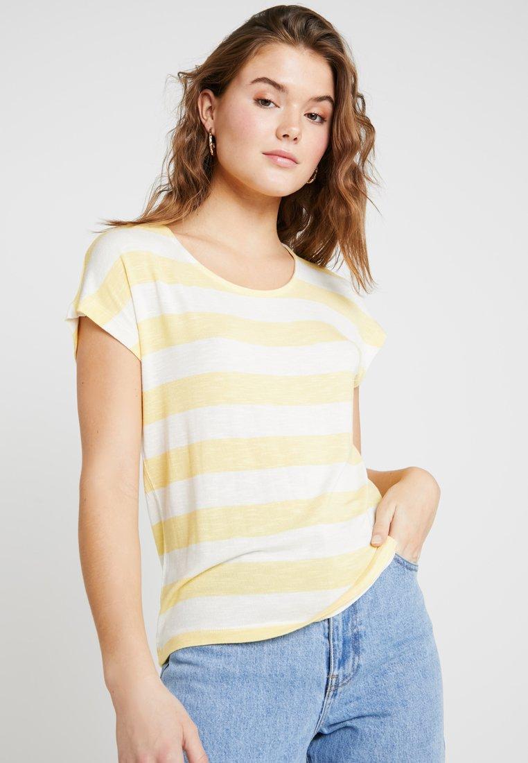 Vero Moda - VMWIDE STRIPE TOP  - Camiseta estampada - yarrow/snow white