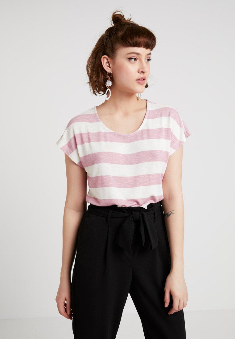 Vero Moda - VMWIDE STRIPE TOP  - T-Shirt print - foxglove/snow white