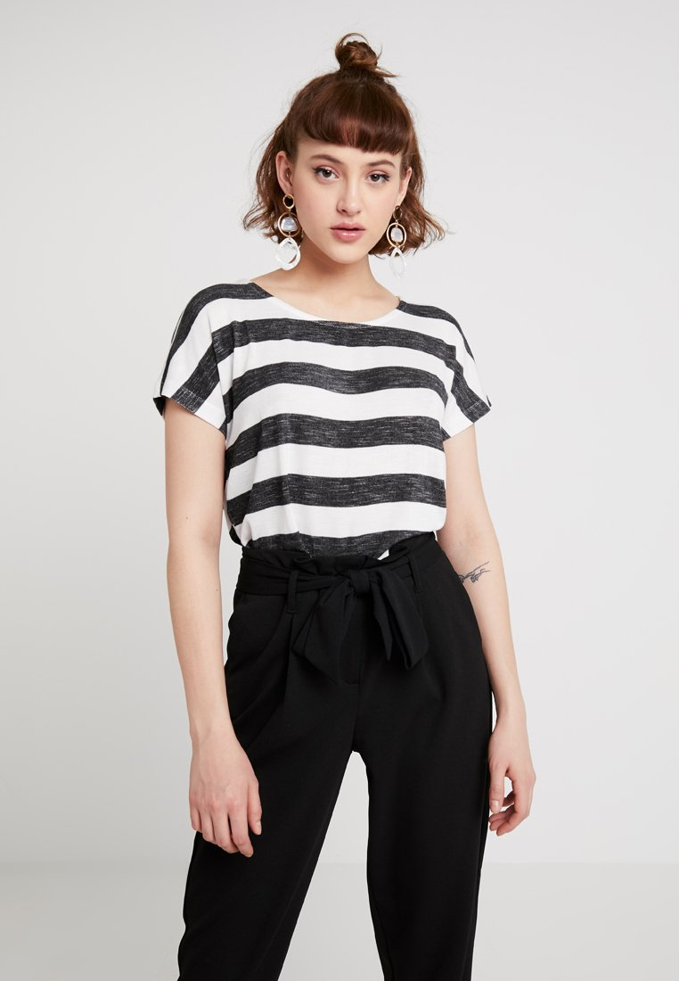 Vero Moda - VMWIDE STRIPE TOP  - T-Shirt print - black/snow white